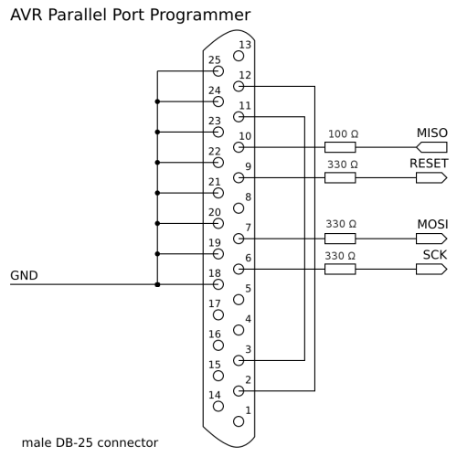 schema STK200 programatoru