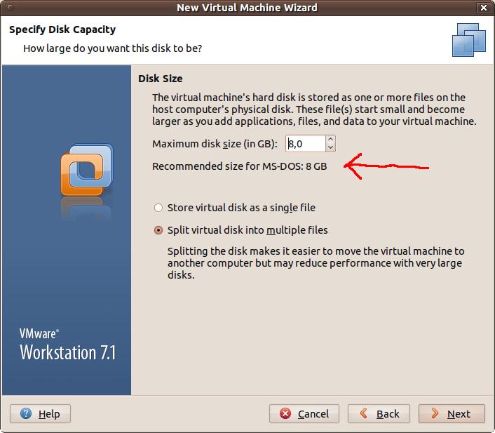 VMware doporucuje pro MS-DOS 8GB disk